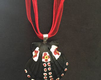 Handcrafted by nature and by hand!  REVERSIBLE!  Sea Shell pendant with coordinating organza neck cord.