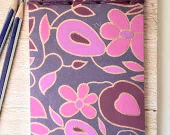 Soft cover notebook made from recycled materials  -  Lotus (Purple)