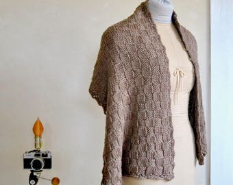 Natural Brown Merino Wrap / Shawl Hand Knit Extra Soft & Sumptuous Light Washable Wool Scarf