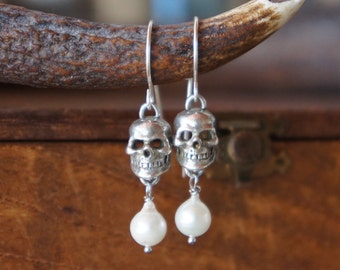 Stunning Petite Silver Antique Skull Memento Mori Pearl Earrings