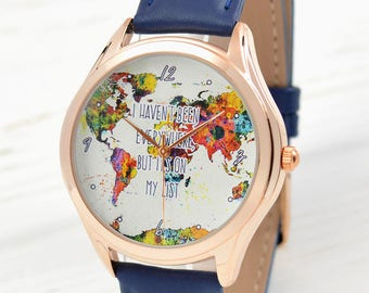 Map watch watercolor art world map watch traveler gift rose gold world map watch womens watch traveler gift watercolor art world map gumiabroncs Image collections