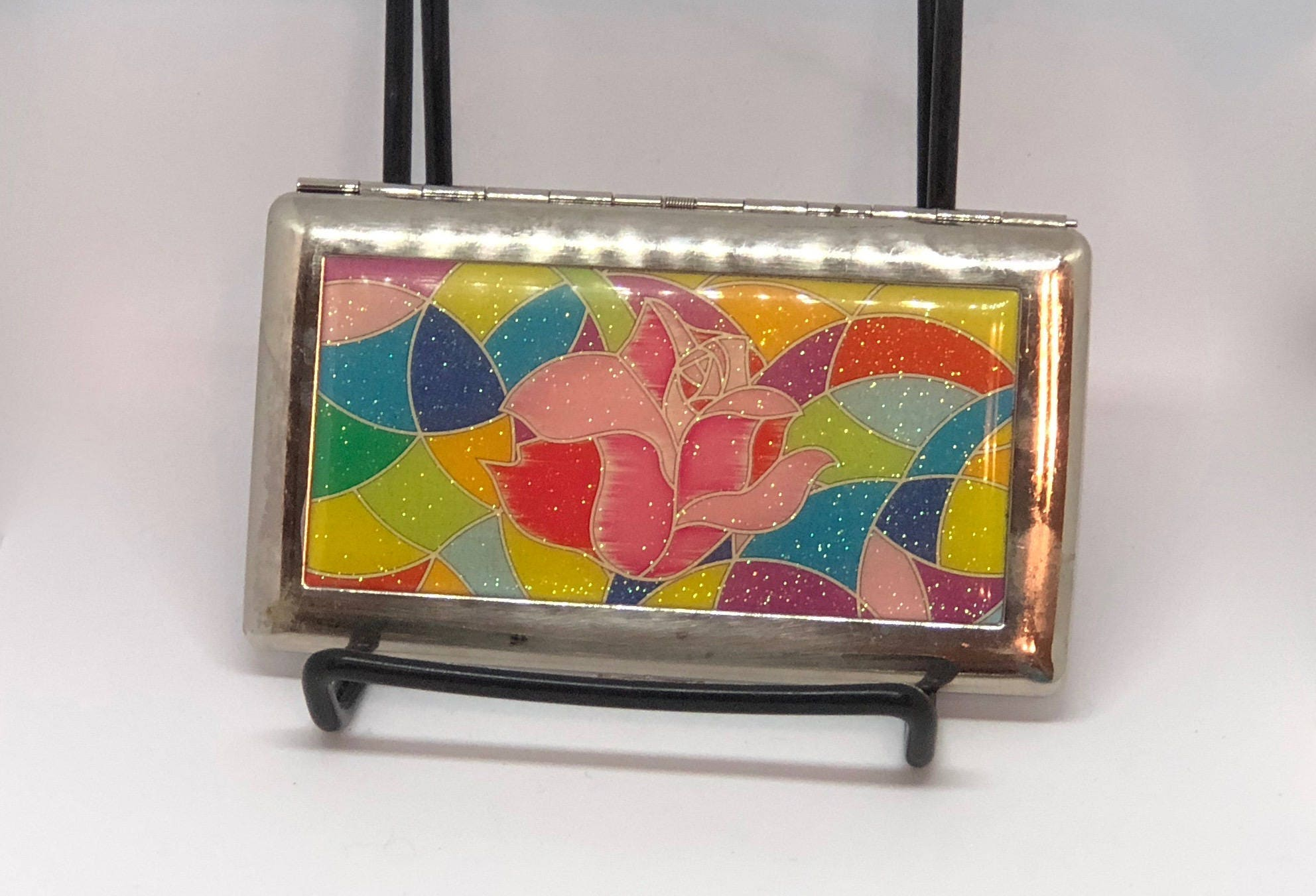 80s Rose Cigarette case 80s Business card holder ~ Beauty & The ...