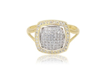 10K Solid Yellow Gold Cubic Zirconia Cluster Square Ring - Polished Finger Band