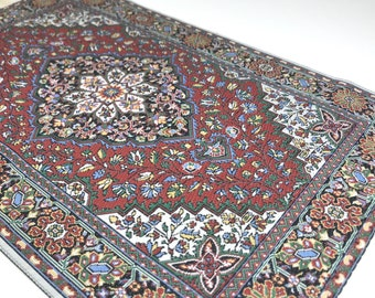 "MINIATURE ORIENTAL CARPET, Large 7 3/4"" x 12"" for 1:12 Scale Dollhouse, Vintage Tapestry, Persian, Fringed Rug"