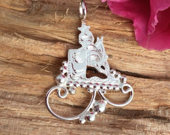 Barrel Racer silhouette pendent/ sterling silver/ Artisan Handmade and Hand engraved