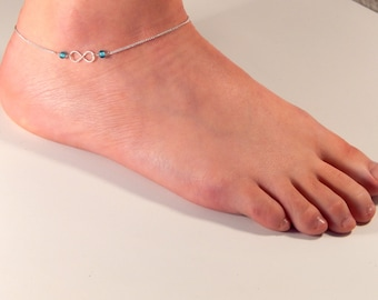 Infinity silver blue anklet, silver anklet, ankle bracelet, hammered infinity symbol, anything blue lampwork beads, summer accessories 126
