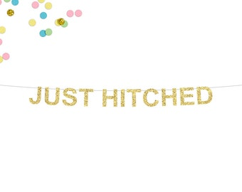Just Hitched Glitter Banner | Wedding Banner | Wedding Reception Banner | Just Married Banner | Bride and Groom | Wedding Reception Decor