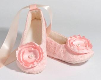 Blush Lace Baby Shoe, Easter, Blush Toddler Spring Flower Girl Ballet Slipper, Girls Wedding Shoe, Girls Ballet Slipper, Dance, Baby Souls