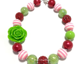 Toddler or Girls Chunky Rose Necklace - Red Rose Chunky Necklace - Red, Lime Green and Pink Chunky Necklace - Strawberry Chunky Necklace