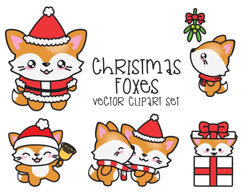 premium vector clipart kawaii christmas foxes cute rh etsy com cute christmas clipart black and white cute christmas clipart pinterest