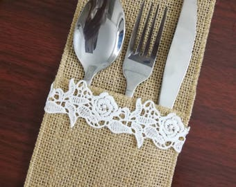 Set of 10-Wedding Table Set,Table Setting,Burlap Silverware Holder,Wedding Rustic Menu,Burlap table decoration,Rustic table decor, - (PY)17