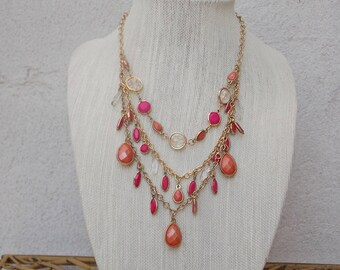Salmon Peach Pink Necklace, Three Tiered Chandelier Style with Faceted Beads