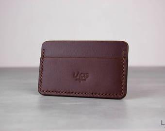 Horizontal leather wallet - Minimalist leather wallet - Brown slim fit leather wallet - Leather wallet