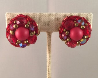 Vintage Red Cluster Clip On Earrings