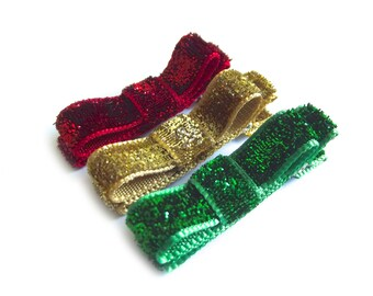 Christmas Hair Clips Red Hair Clips Green Hair Clips Gold Hair Clips Glitter Hair Clips Stocking Stuffers Tuxedo Bow Hair Clips Baby Girl