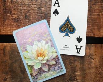 Vintage Water Lilies Playing Card Deck - Full Deck - Paper Ephemera, Vintage Scrapbook, Vintage Playing Cards, Hallmark Cards, Deck of Cards