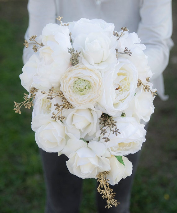 White And Gold Wedding Flowers: Wedding Bouquet Off White Peony Roses Cascade Gold Accent