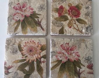 Botanical flower tile coasters