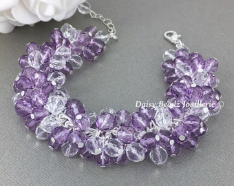 Lavender Bracelet Purple Bracelet Crystal Bracelet Cluster Bridal Jewelry Maid of Honor Gift for Her Purple Wedding Mother Gift