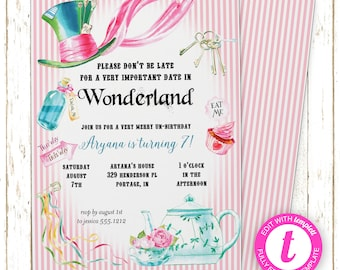 Alice in Wonderland Invitation | Alice in Wonderland Birthday Tea Party | Printable Editable Digital PDF File | Templett | KBI123DIY
