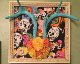 SALE Day of the dead antler wall hanging