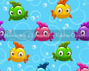 Bubble Fish MLP Custom Cotton/ Lycra Jersey Knit Mommie's Lil Peanut Exclusive sewing apparel fabric By The Yard MLP-1605