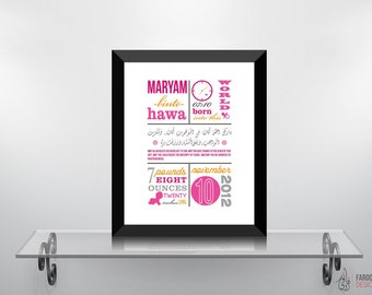 Personalize It's a GIRL Birth Announcement (Print Only) | IslamicDecor and Art Prints | Modern Islamic Wall Art & Digital Paintings