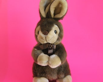 Vintage Large Bunny Rabbit Stuffed Animal by AMERICA WEGO Fiesta Begging Bunny Brown and Cream Faux Fur 1980s Toy Plush