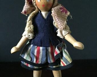 Vintage Wooden Doll--Old Wood Doll--Eastern European Doll--Vintage Poseable Wood Doll--Traditionally Dressed Doll