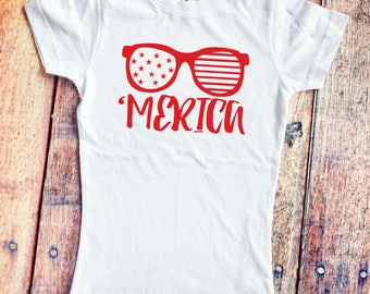 Girls' 'Merica Shirt  - 4th of July - Independence Day - America T-Shirt