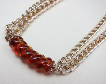 Amber and Gold Necklace Vintage Sarah Coventry Necklace