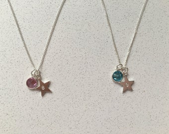 Personalised sterling silver star birthstone necklace