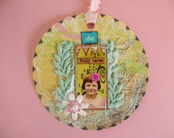 "She ""Truly Cares"" mixed media Tag/Gift Tag/Scrapbook/Card"