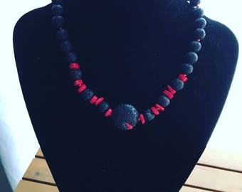 Lava and coral necklace No. 3