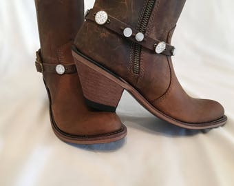 Brown boot bling with white beads