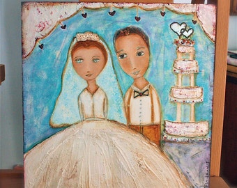 Wedding Portrait -   Giclee print mounted on Wood (4 x 4 inches) Folk Art  by FLOR LARIOS