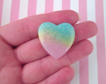2 Pastel Rainbow Glitter Resin Heart Cabochons #663