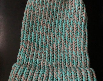 Grey & Aqua Two Toned Kids Cotton Beanie