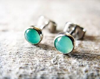 Green Chrysoprase Stud Earrings Sterling Silver