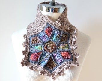 Stained Glass Window Scarf, Art-chitectural Collection, Scarf, Beige scarf with stained glass window in crochet, hand painted merino wool