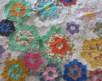 18 Cute Orphan Grandmothers Flower Garden Quilt Blocks, Various But Similar Sizes