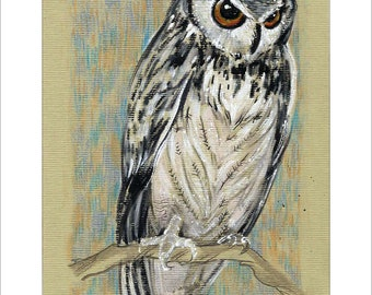 Stunning Great Horned Owl - Original mixed media Painting 6x8 inches Bird wild nature Ready to Frame