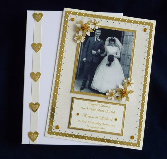 Appropriate Gift For 50th Wedding Anniversary: 50th Golden Wedding Anniversary Card With Photo Personalised