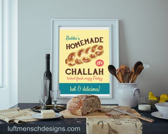 Jewish Mother's Day gift, Grandmother Gift, Challah, Bubbe, Diner Sign, Jewish Mom, Judaica, Judaism, Instant Digital Download, Printable