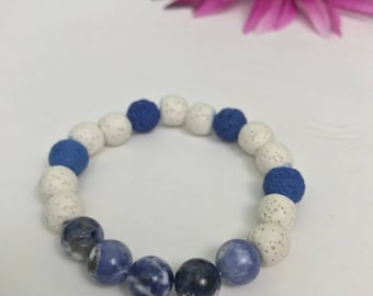 Blue and White Sodalite and lava stone essential oil bracelet
