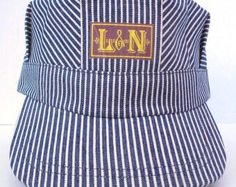 Railroad Cap L&N Blue and White Stripe Train Hat