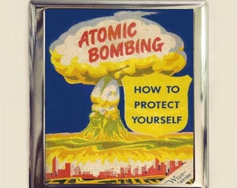 Atomic Bomb Cigarette Case Business Card ID Holder Wallet Atom Bombing Apocalyptic Apocalyse Nuclear War