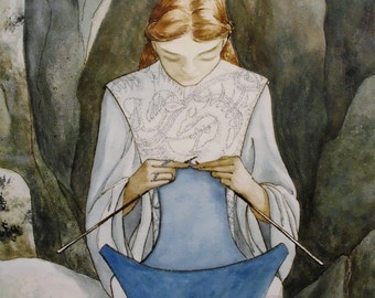 THE SPRING - Lady of Life knitting stream of water -calm center -source of creation-interlaced celtic/viking dragons -signed numbered print