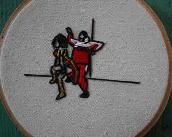"Miniature dancing Rihanna and Drake ""work"" embroidery"