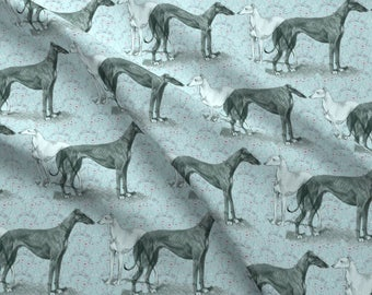 Floral Greyhound Fabric - The Greyhound And The Whippet Fabric By Dogdaze - Floral Greyhound Pet Cotton Fabric By The Yard With Spoonflower